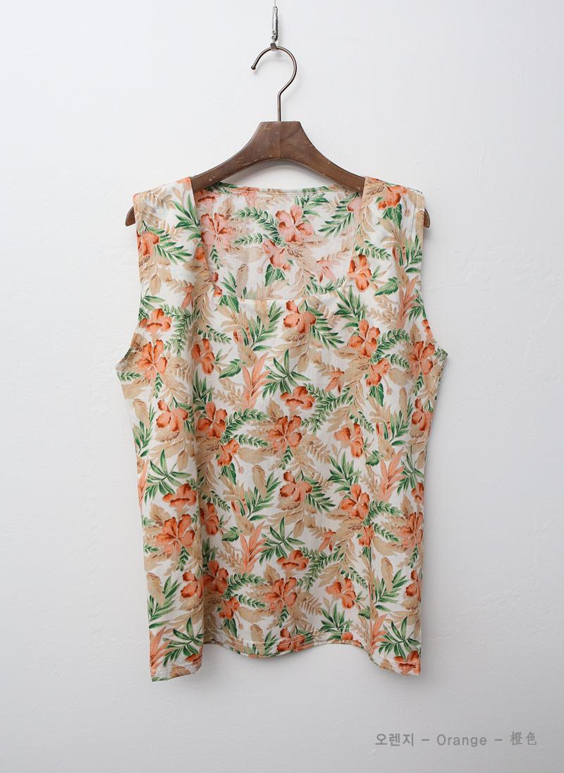 [1+1] 여자 하와이 플라워 린넨 스퀘어넥 나시 티셔츠 - 옷자락, 55,000원, 상의, 민소매티셔츠