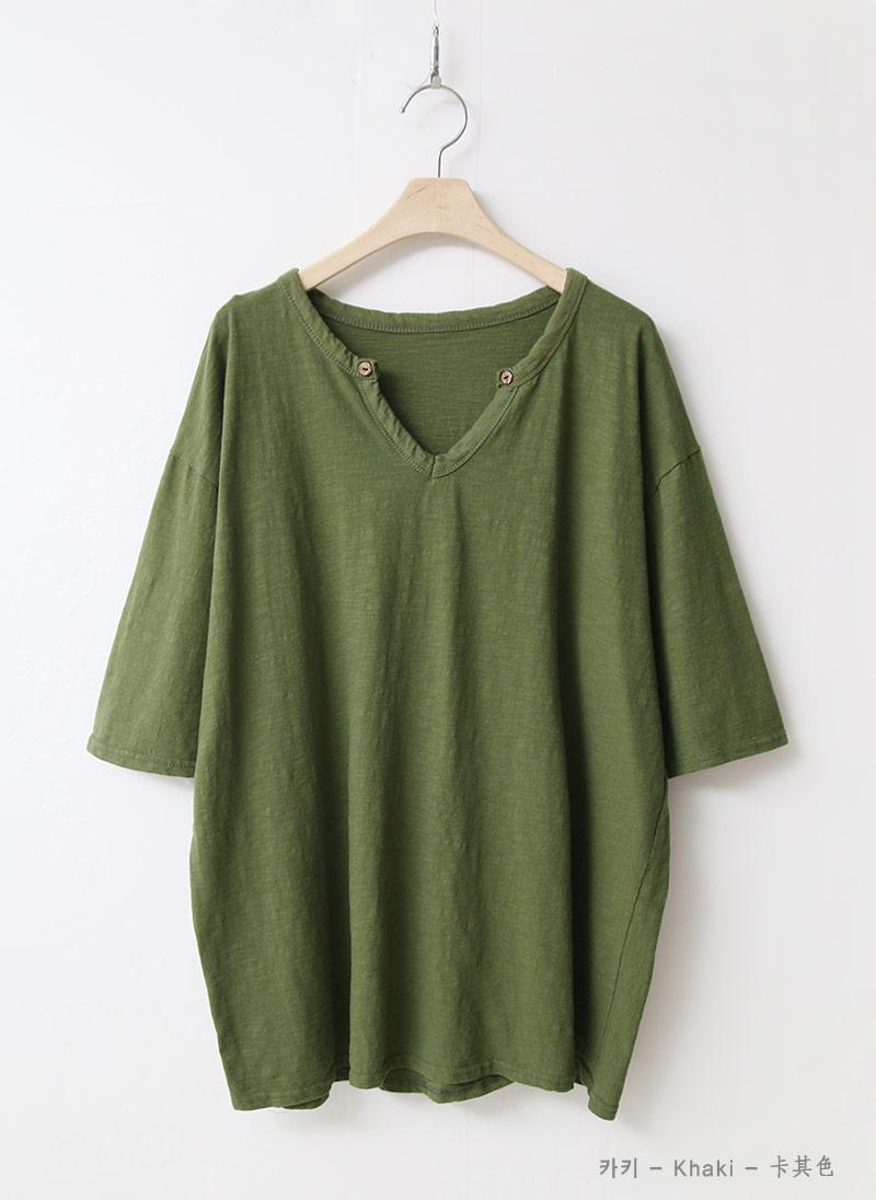 여자 오픈 브이넥 7부소매 오버핏 여름 티셔츠 - 옷자락, 22,750원, 상의, 반팔티셔츠